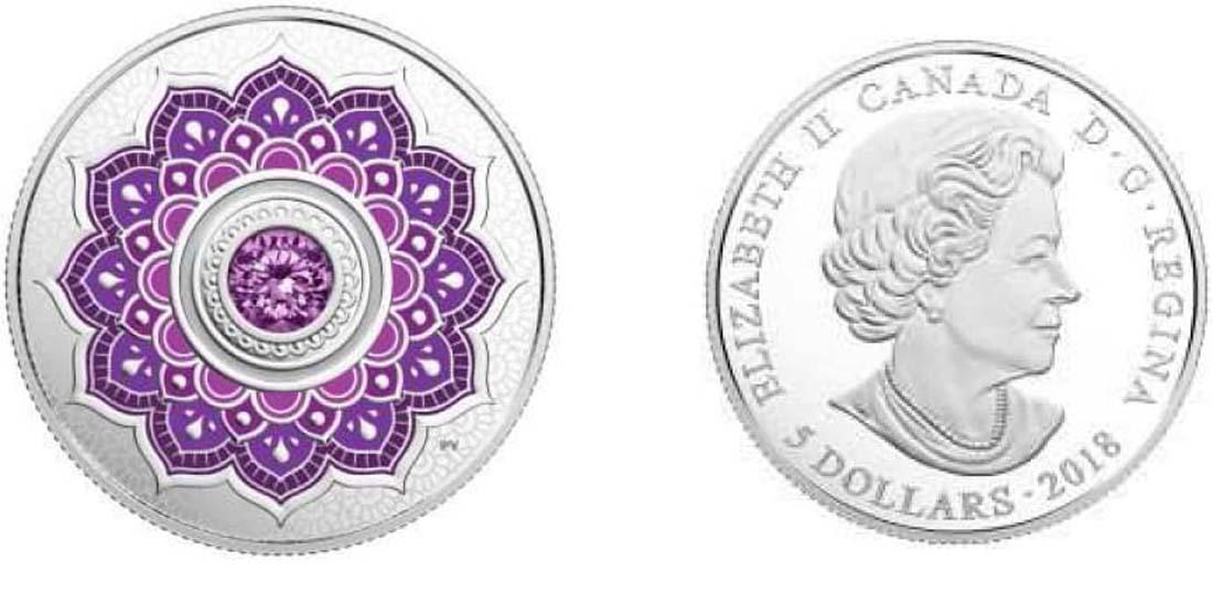 Kanada : 5 Dollar Geburtsstein Februar mit Henna-Motiv und Swarowski  2018 PP