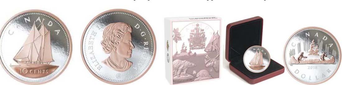 Kanada : 10 Cent Große Münzen - Bluenose  2018 PP