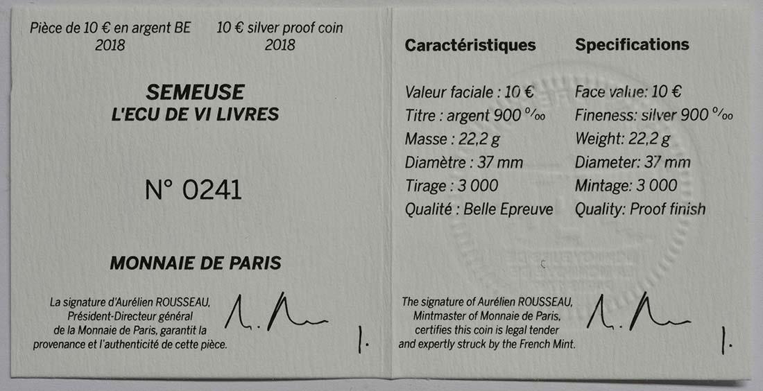 Zertifikat:Frankreich : 10 Euro Ecu de 6 Livres  2018 PP