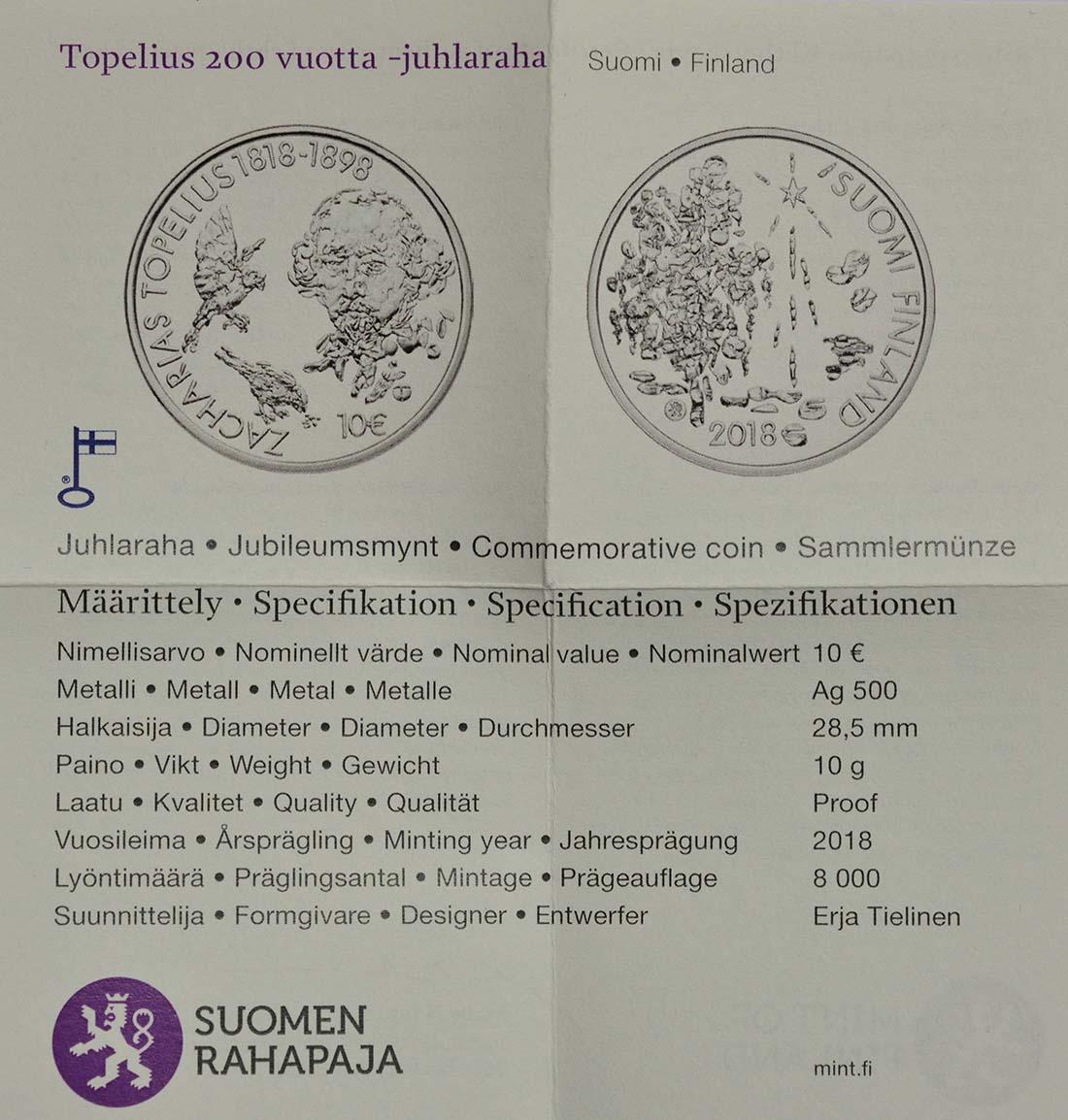 Zertifikat:Finnland : 10 Euro 200. Geburtstag Zacharias Topelius  2018 PP