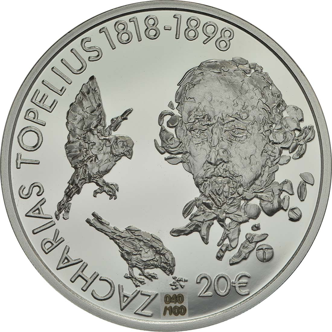 Rückseite:Finnland : 20 Euro 200. Geburtstag Zacharias Topelius  2018 PP