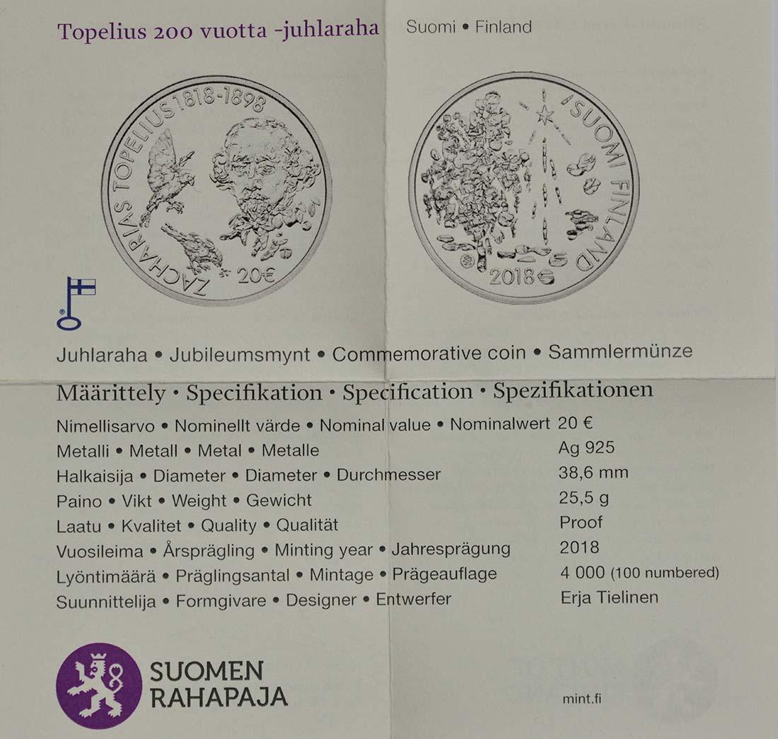 Zertifikat:Finnland : 20 Euro 200. Geburtstag Zacharias Topelius  2018 PP