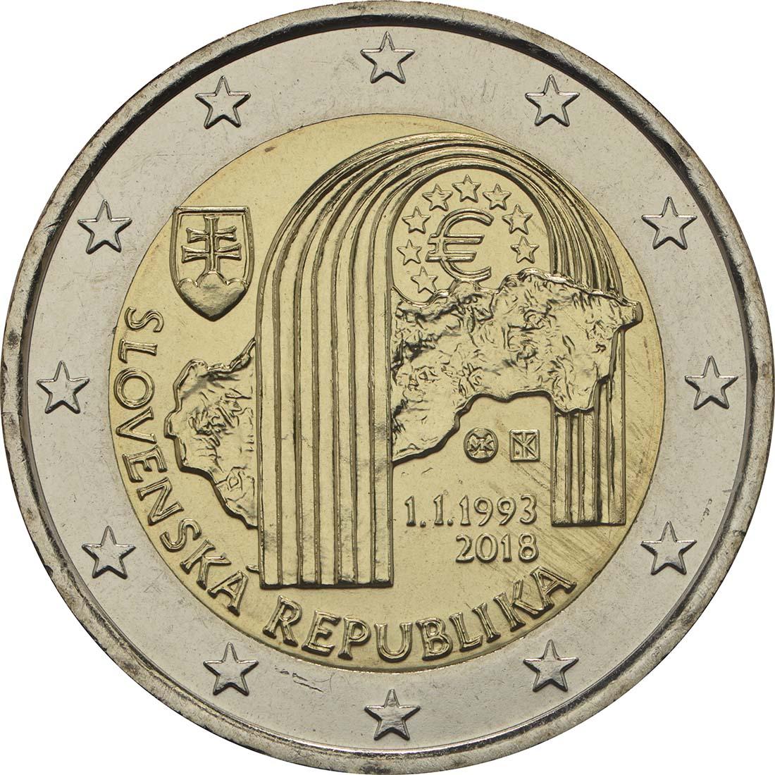 Rückseite:Slowakei : 2 Euro 25 Jahre Slowakische Republik  2018 bfr