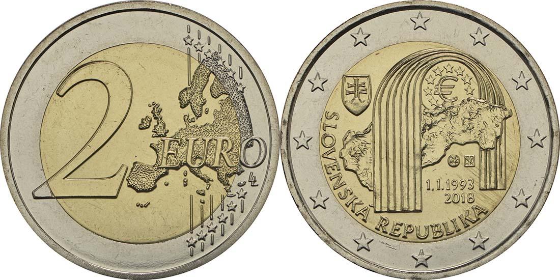 Lieferumfang:Slowakei : 2 Euro 25 Jahre Slowakische Republik  2018 bfr
