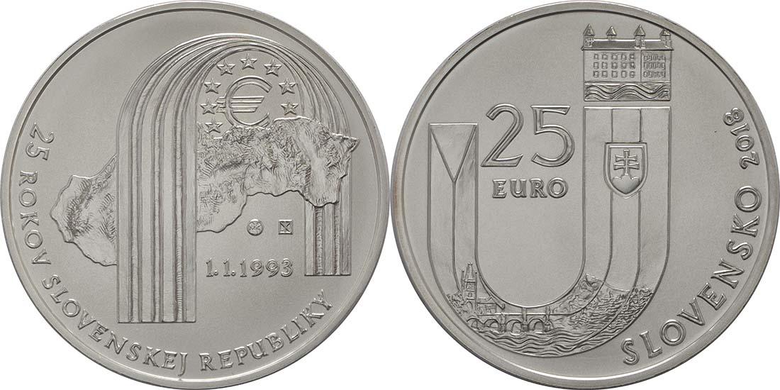 Übersicht:Slowakei : 25 Euro 25 Jahre Slowakische Republik  2018 Stgl.