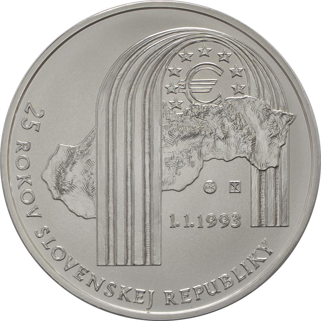 Vorderseite:Slowakei : 25 Euro 25 Jahre Slowakische Republik  2018 Stgl.