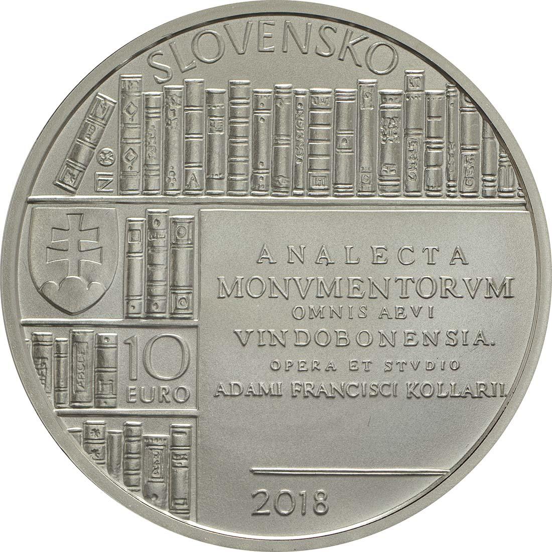 Rückseite:Slowakei : 10 Euro Adam Frantisek Kollar  2018 Stgl.