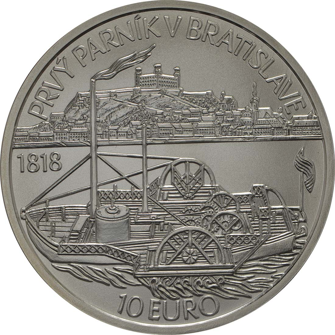 Rückseite:Slowakei : 10 Euro Schiffahrt erstes Dampfschiff auf der Donau - 200. Jahrestag  2018 Stgl.