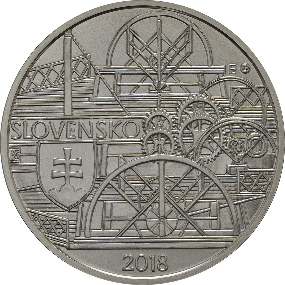 Vorderseite:Slowakei : 10 Euro Schiffahrt erstes Dampfschiff auf der Donau - 200. Jahrestag  2018 Stgl.