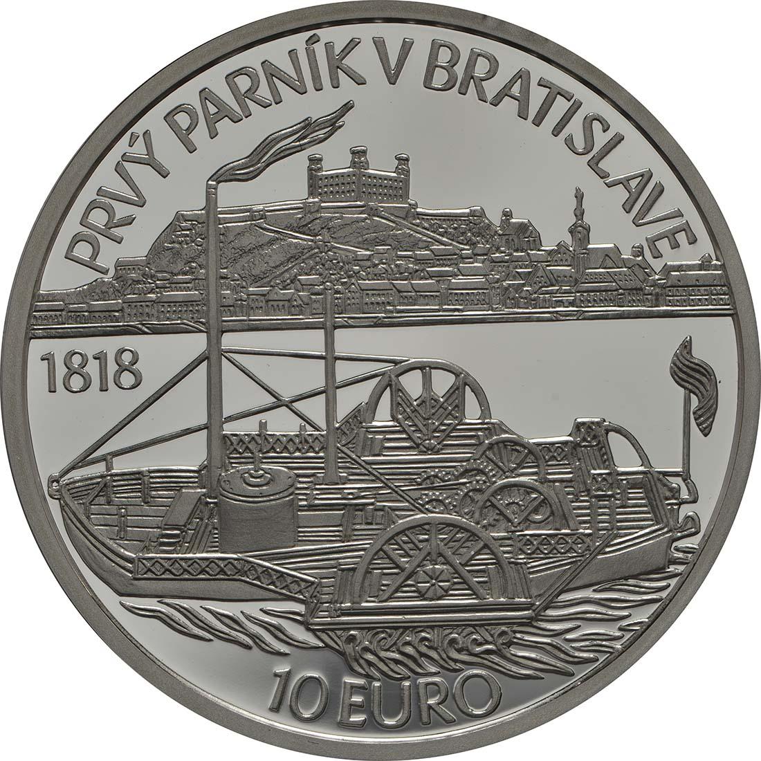 Rückseite:Slowakei : 10 Euro Schiffahrt erstes Dampfschiff auf der Donau - 200. Jahrestag  2018 PP