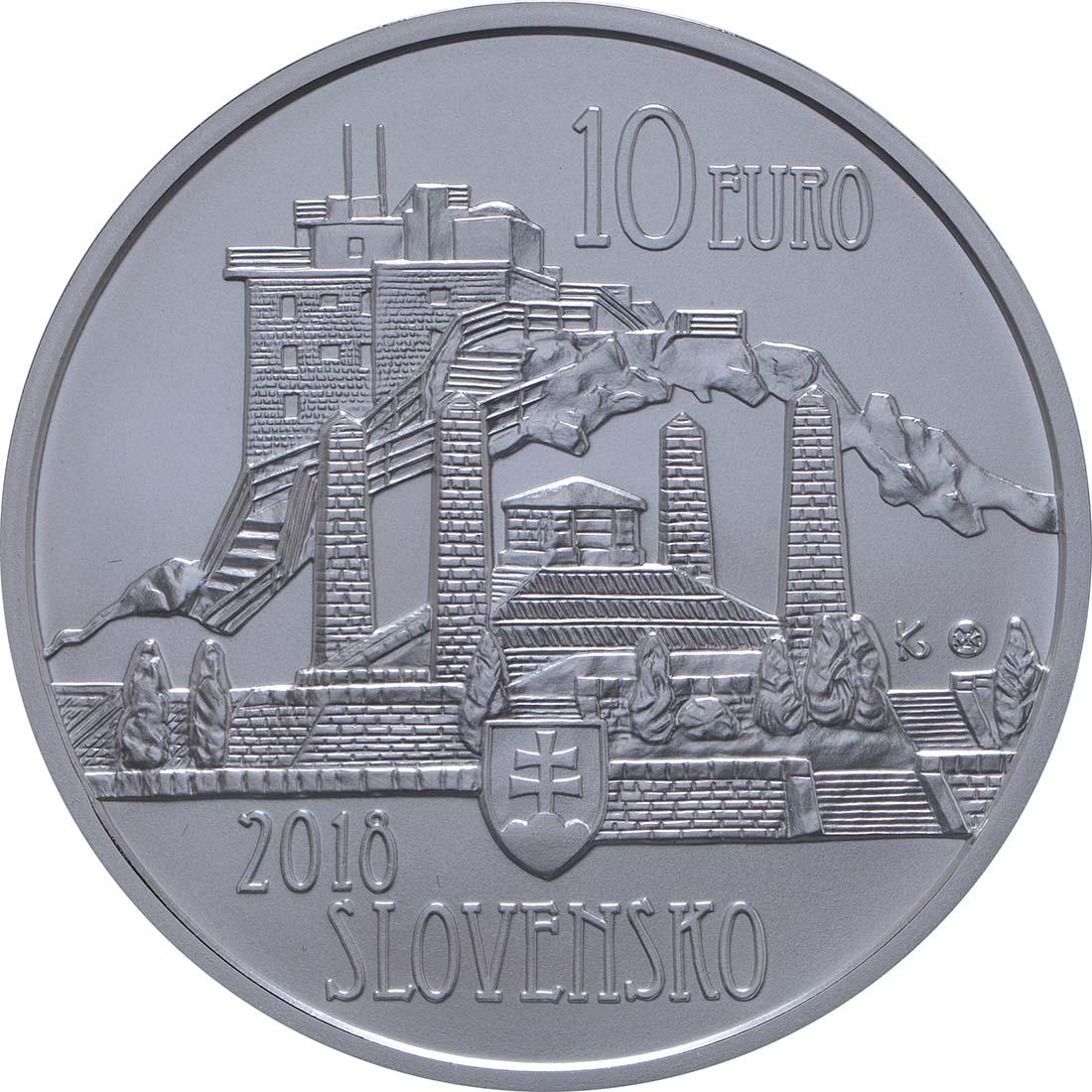 Rückseite:Slowakei : 10 Euro Dusan Samuel Jurkovic  2018 Stgl.