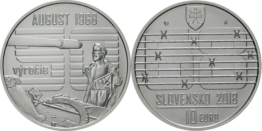 Übersicht:Slowakei : 10 Euro Invasion des Warschauer Paktes in der Tschechoslowakei August 1968  2018 Stgl.