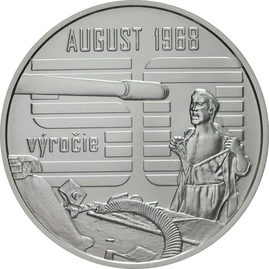 Vorderseite:Slowakei : 10 Euro Invasion des Warschauer Paktes in der Tschechoslowakei August 1968  2018 Stgl.