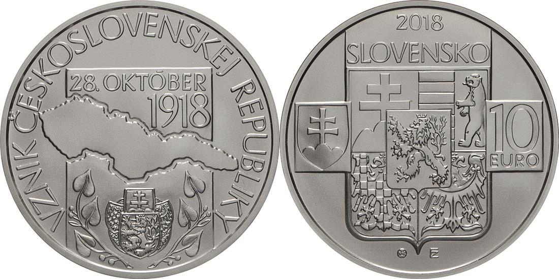 Übersicht:Slowakei : 10 Euro Gründung der Tschechischen Republik - 100. Jahrestag  2018 Stgl.