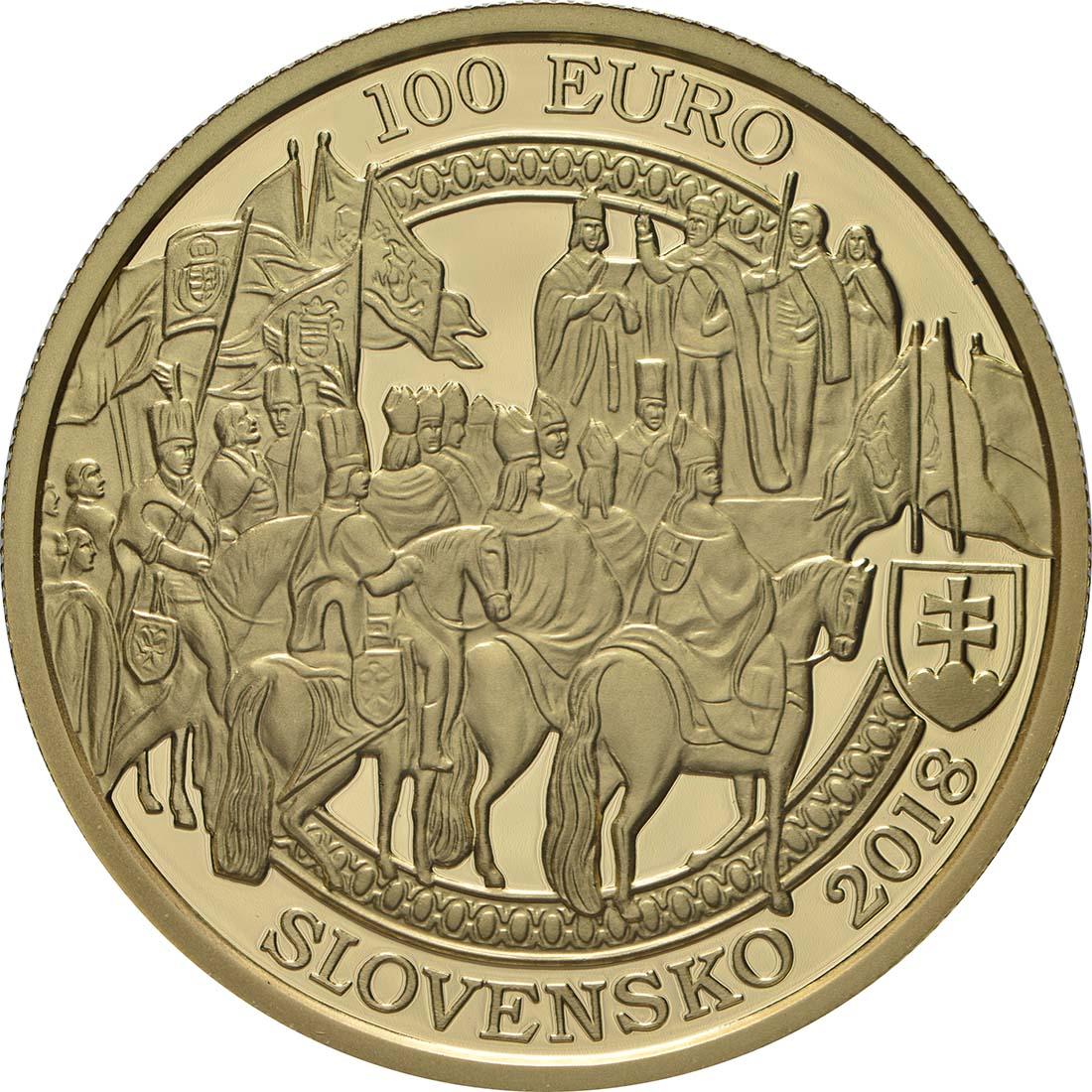 Rückseite:Slowakei : 100 Euro 400. Jahrestag der Krönung von Ferdinand II  2018 PP