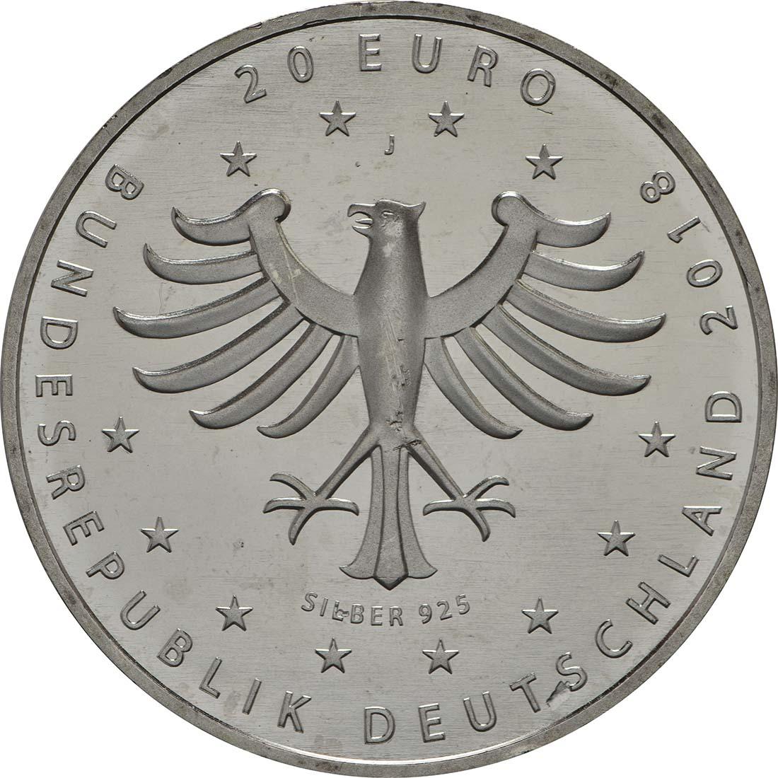 Rückseite:Deutschland : 20 Euro 800 Jahre Hansestadt Rostock  2018 bfr