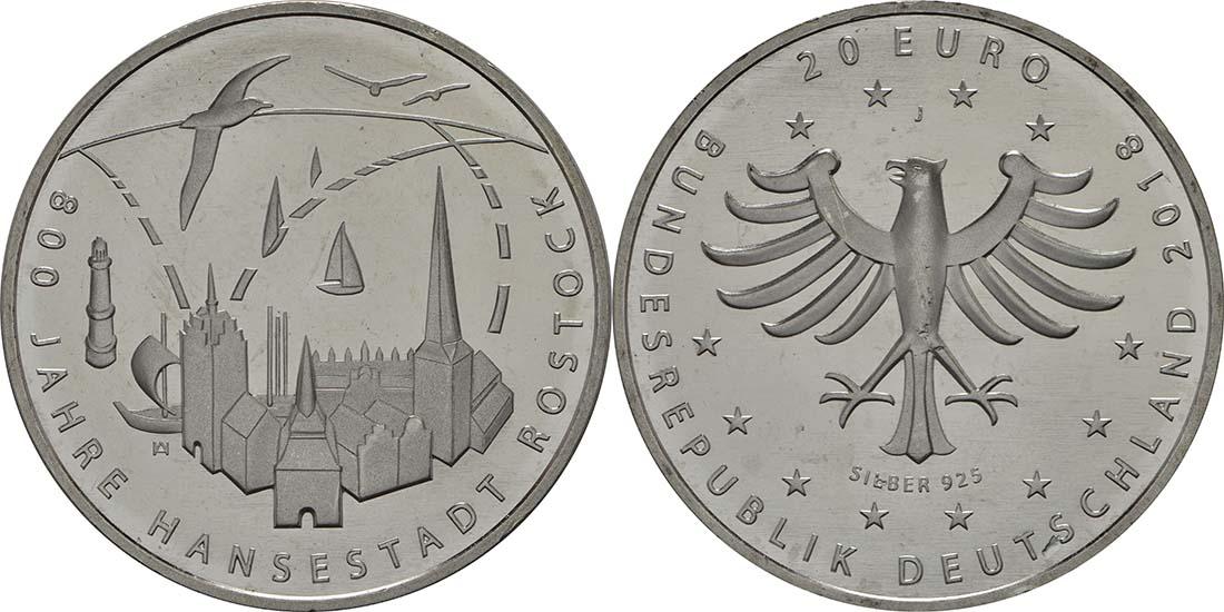 Lieferumfang:Deutschland : 20 Euro 800 Jahre Hansestadt Rostock  2018 bfr