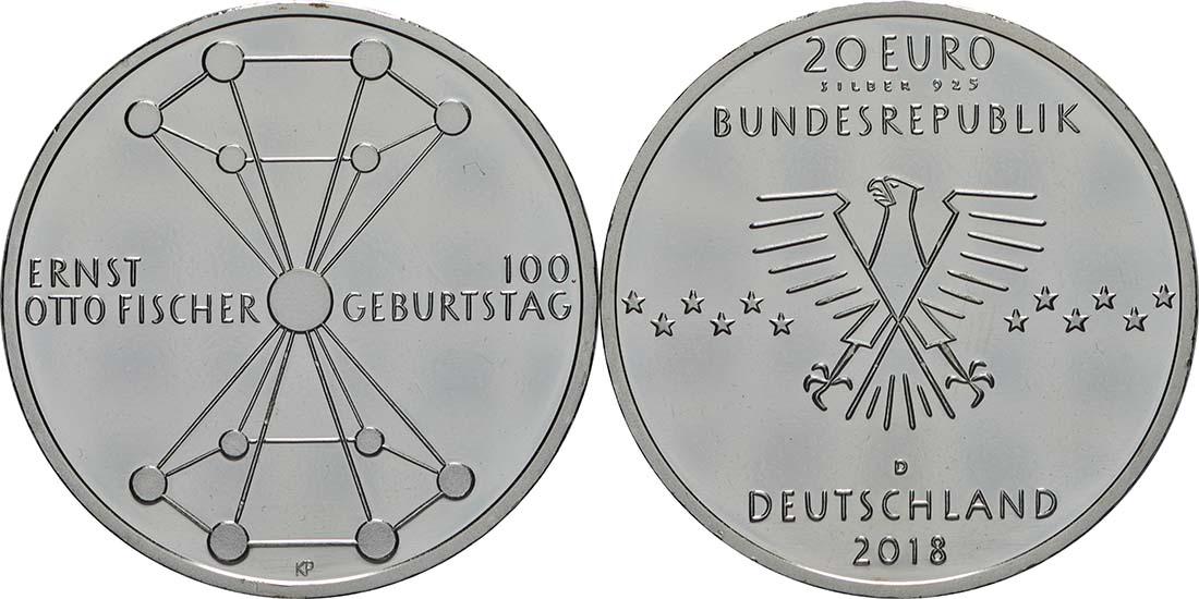 Übersicht:Deutschland : 20 Euro 100. Geburtstag Ernst Otto Fischer  2018 bfr