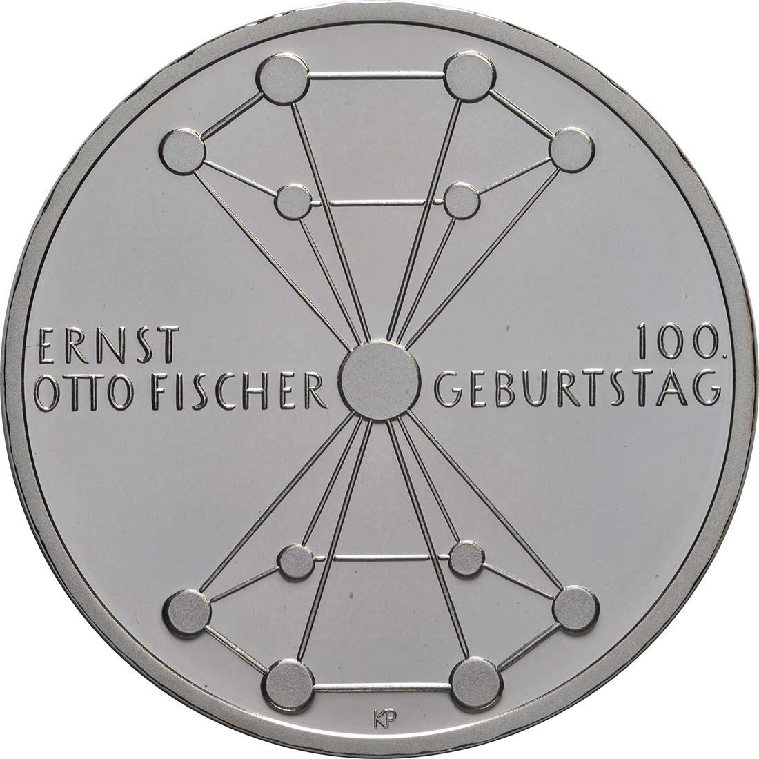 Vorderseite:Deutschland : 20 Euro 100. Geburtstag Ernst Otto Fischer  2018 PP