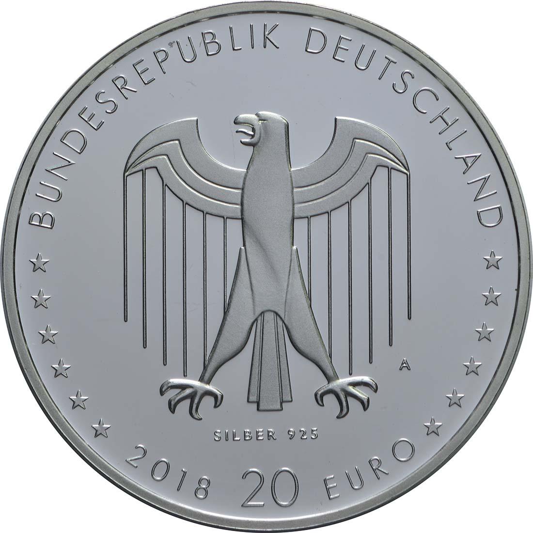 Rückseite:Deutschland : 20 Euro 150. Geburtstag Peter Behrens  2018 PP