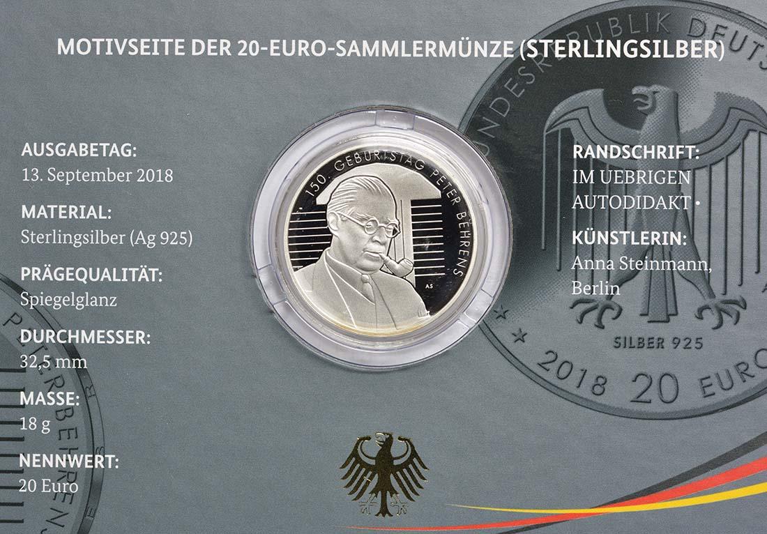 Zertifikat:Deutschland : 20 Euro 150. Geburtstag Peter Behrens  2018 PP