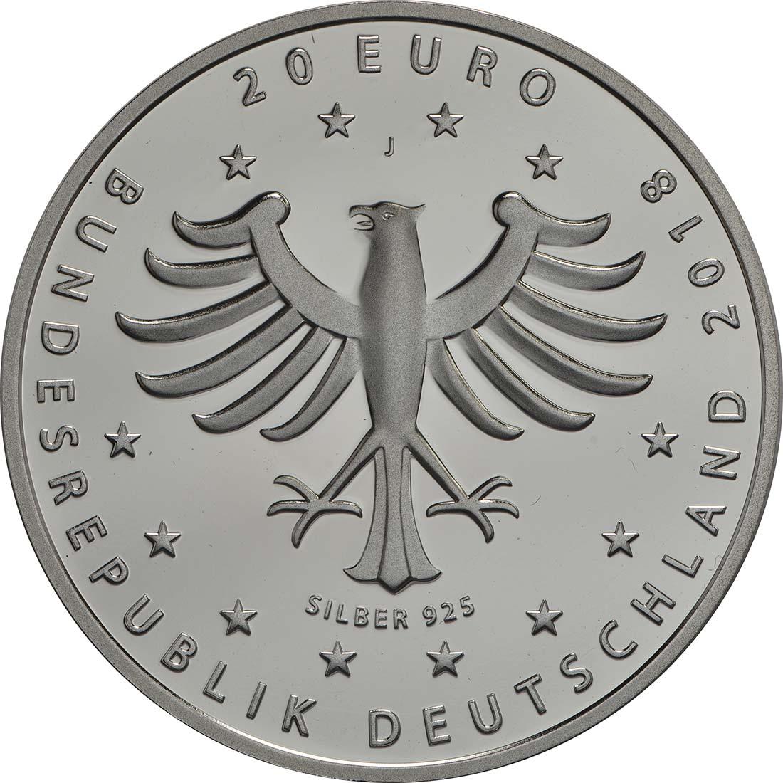 Rückseite:Deutschland : 20 Euro 800 Jahre Hansestadt Rostock  2018 PP