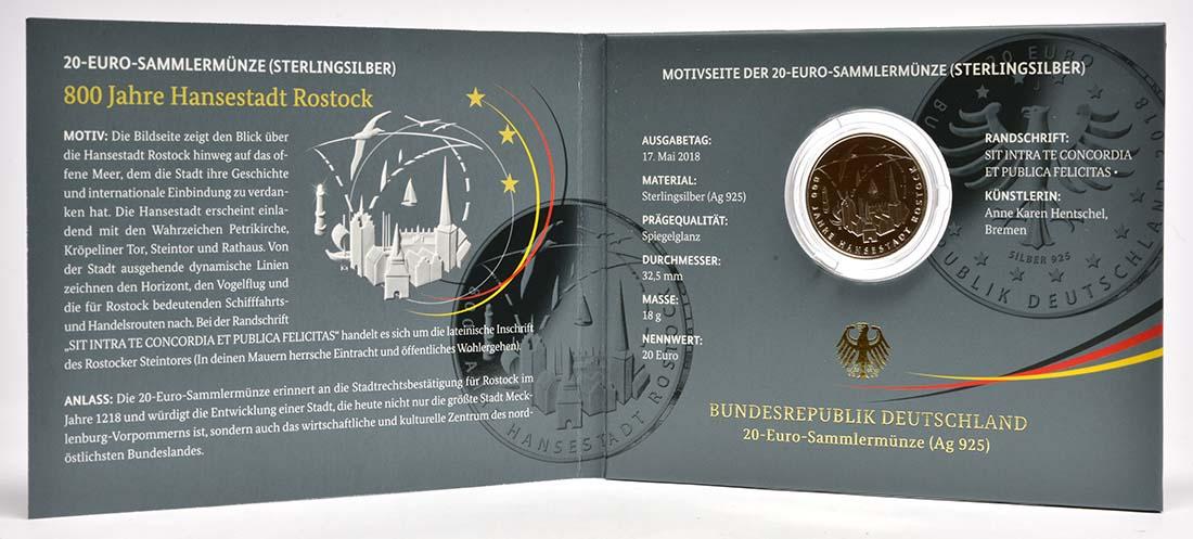 Deutschland : 20 Euro 800 Jahre Hansestadt Rostock  2018 PP