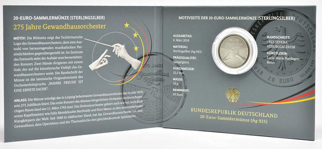 Deutschland : 20 Euro 275 Jahre Gewandhausorchester  2018 PP