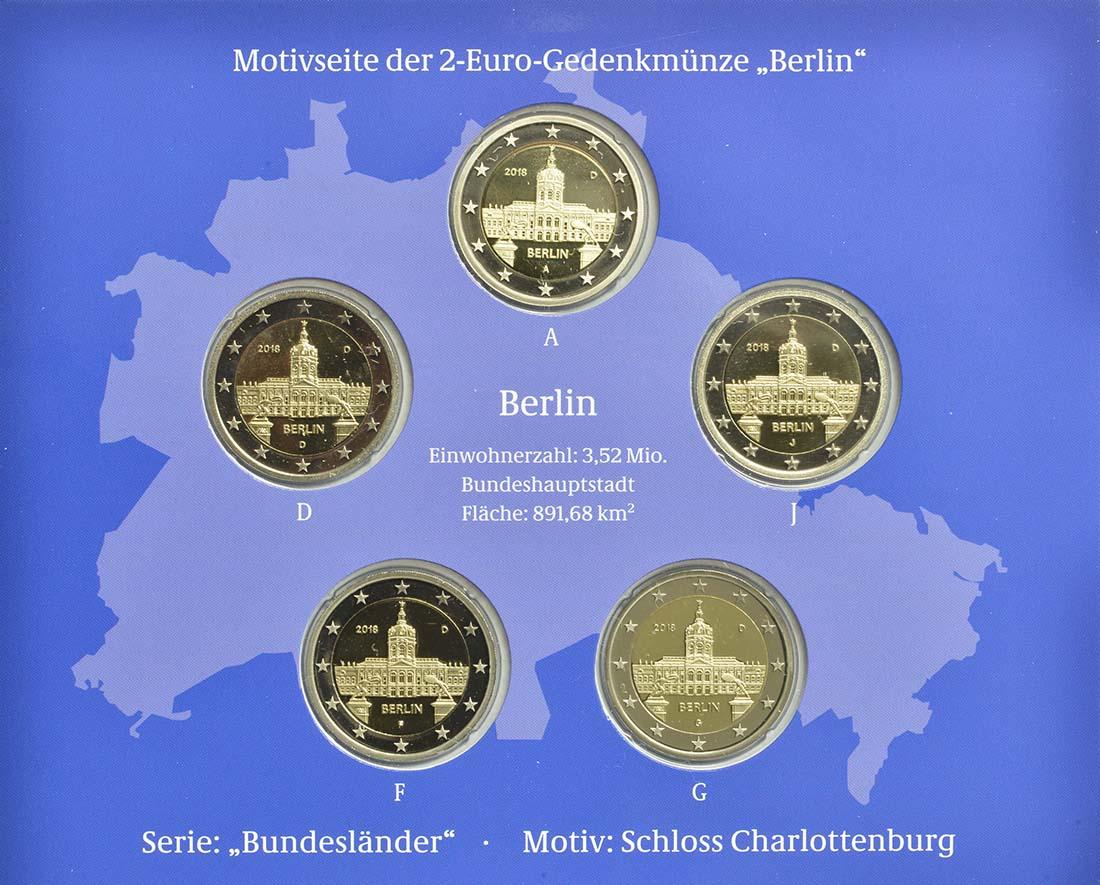 Rückseite:Deutschland : 2 Euro Berlin - Schloss Charlottenburg  Komplettsatz 5x2 Euro  2018 PP