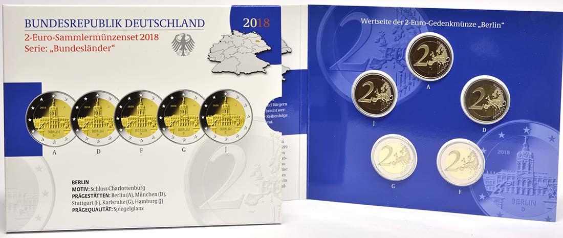 Lieferumfang:Deutschland : 2 Euro Berlin - Schloss Charlottenburg  Komplettsatz 5x2 Euro  2018 PP