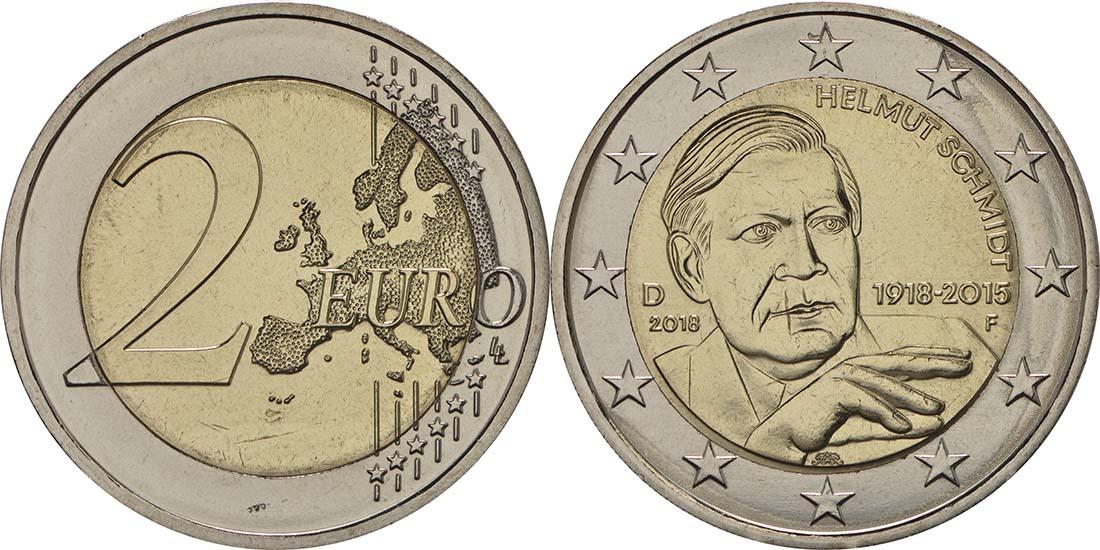 Übersicht:Deutschland : 2 Euro Helmut Schmidt  2018 bfr