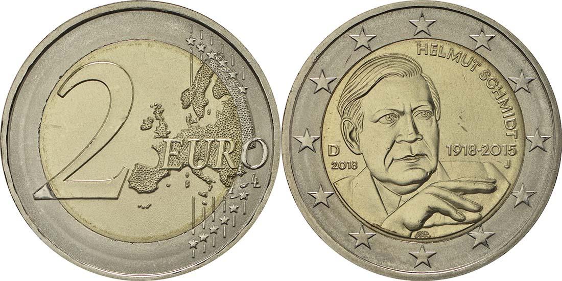 Deutschland 2 Euro Helmut Schmidt 2018 Ku Ni Bfr 35 Euro