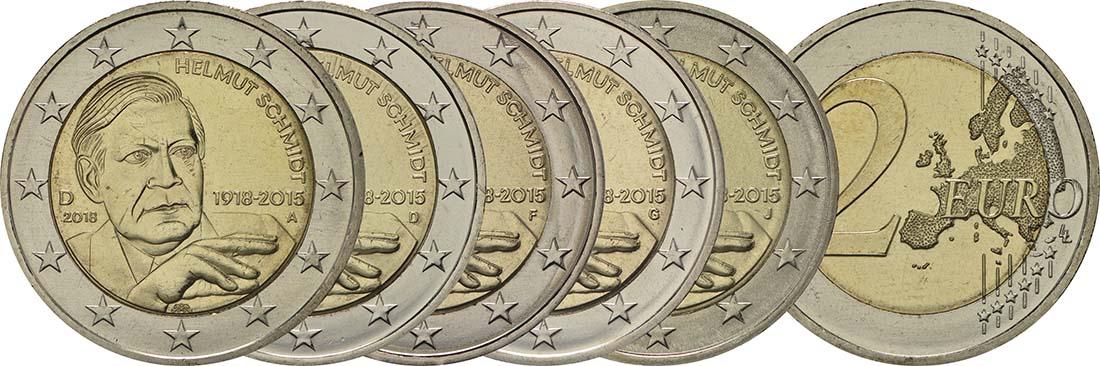 Übersicht:Deutschland : 2 Euro Helmut Schmidt Komplettsatz 5x2 Euro  2018 bfr