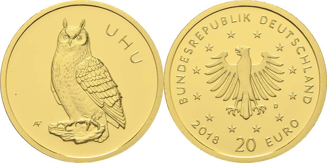 Übersicht:Deutschland : 20 Euro Uhu  2018 Stgl.