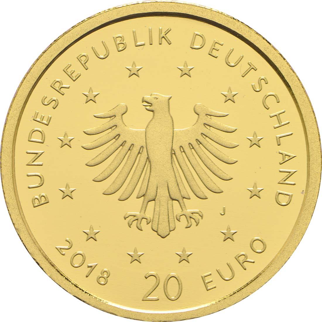 Rückseite:Deutschland : 20 Euro Uhu Buchstabe unserer Wahl  2018 Stgl.