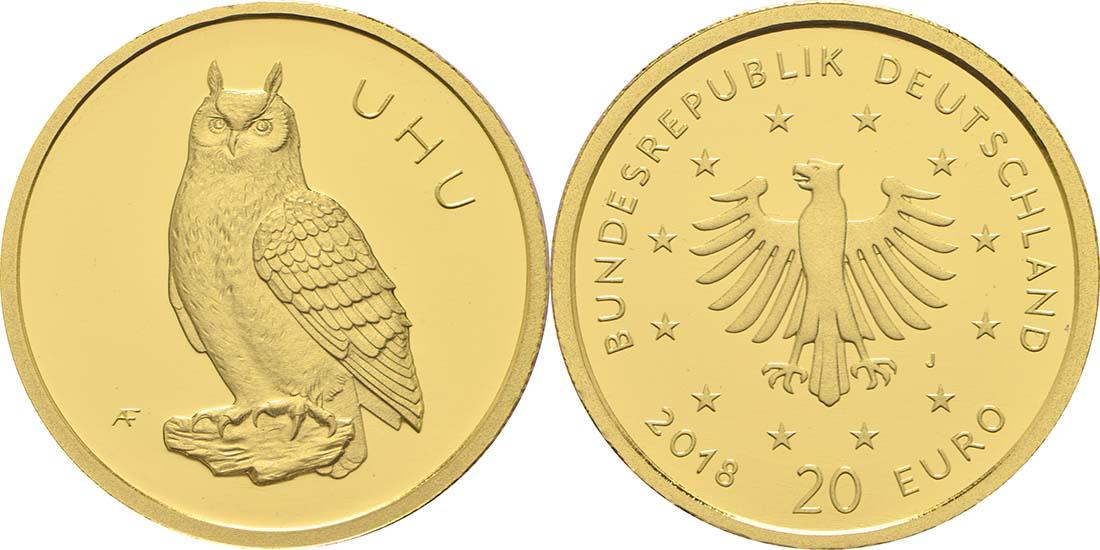 Lieferumfang:Deutschland : 20 Euro Uhu Buchstabe unserer Wahl  2018 Stgl.