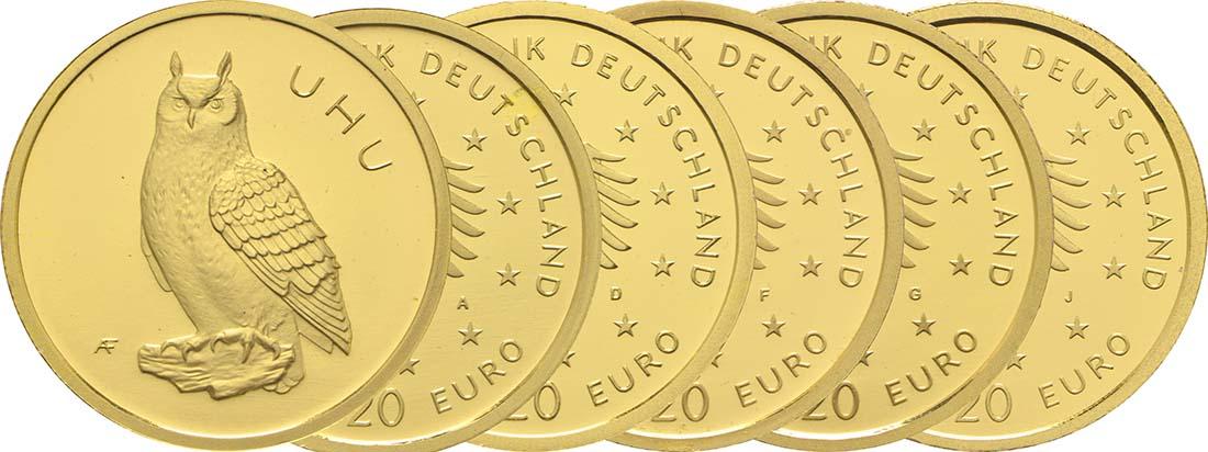 Deutschland : 20 Euro Uhu Komplettsatz ADFGJ 5 Münzen  2018 Stgl.