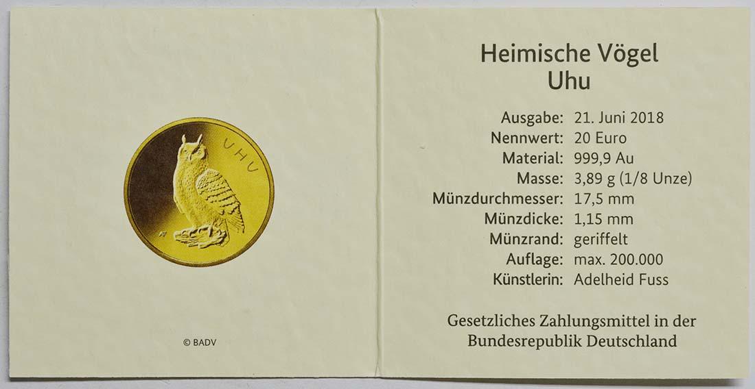 Zertifikat:Deutschland : 20 Euro Uhu Komplettsatz ADFGJ 5 Münzen  2018 Stgl.
