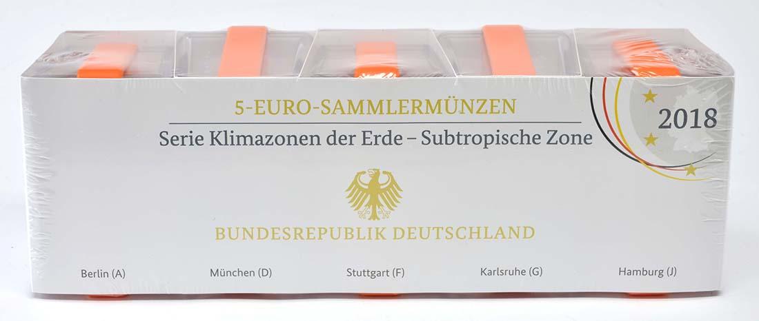 Lieferumfang:Deutschland : 5 Euro Subtropische Zone Komplettsatz ADFGJ 5 Münzen  2018 PP