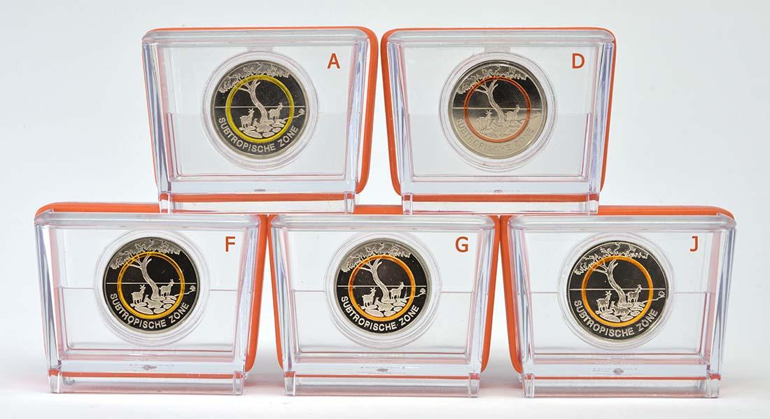 Vorderseite:Deutschland : 5 Euro Subtropische Zone Komplettsatz ADFGJ 5 Münzen  2018 PP