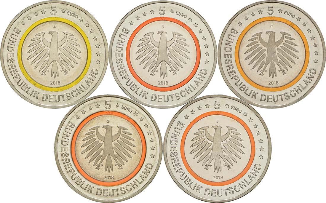 Rückseite:Deutschland : 5 Euro Subtropische Zone Komplettsatz ADFGJ 5 Münzen  2018 bfr