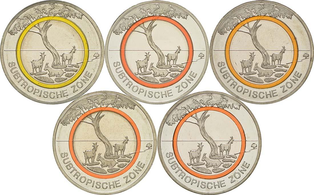Lieferumfang:Deutschland : 5 Euro Subtropische Zone Komplettsatz ADFGJ 5 Münzen  2018 bfr