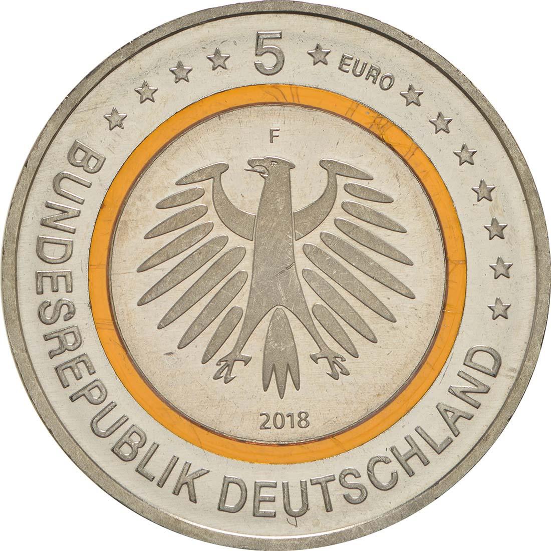 Rückseite:Deutschland : 5 Euro Subtropische Zone Buchstabe unserer Wahl  2018 bfr