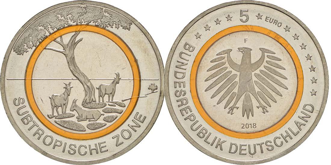 Deutschland : 5 Euro Subtropische Zone Buchstabe unserer Wahl  2018 bfr