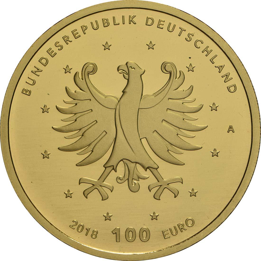 Rückseite:Deutschland : 100 Euro Schlösser Augustusburg und Falkenlust in Brühl Komplettsatz ADFGJ 5 Münzen  2018 Stgl.