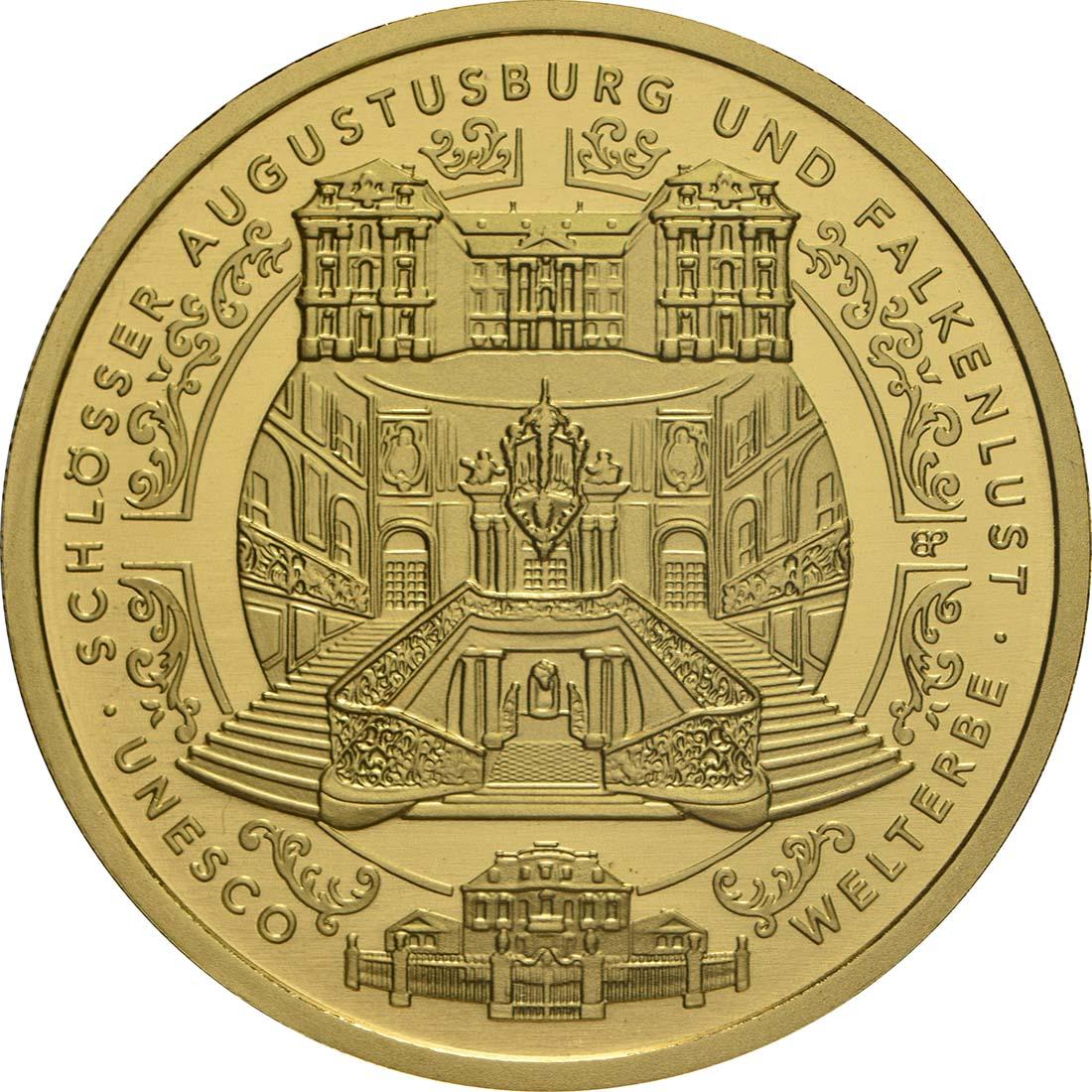 Vorderseite:Deutschland : 100 Euro Schlösser Augustusburg und Falkenlust in Brühl Komplettsatz ADFGJ 5 Münzen  2018 Stgl.