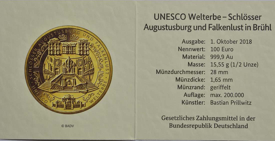Zertifikat:Deutschland : 100 Euro Schlösser Augustusburg und Falkenlust in Brühl Komplettsatz ADFGJ 5 Münzen  2018 Stgl.