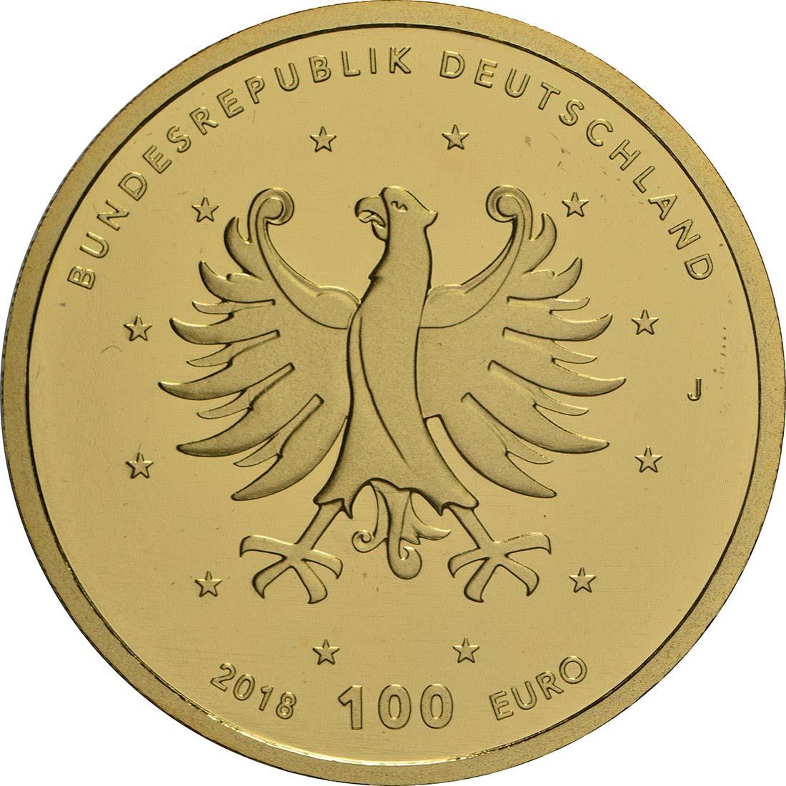 Rückseite:Deutschland : 100 Euro Schlösser Augustusburg und Falkenlust in Brühl Buchstabe unserer Wahl  2018 Stgl.