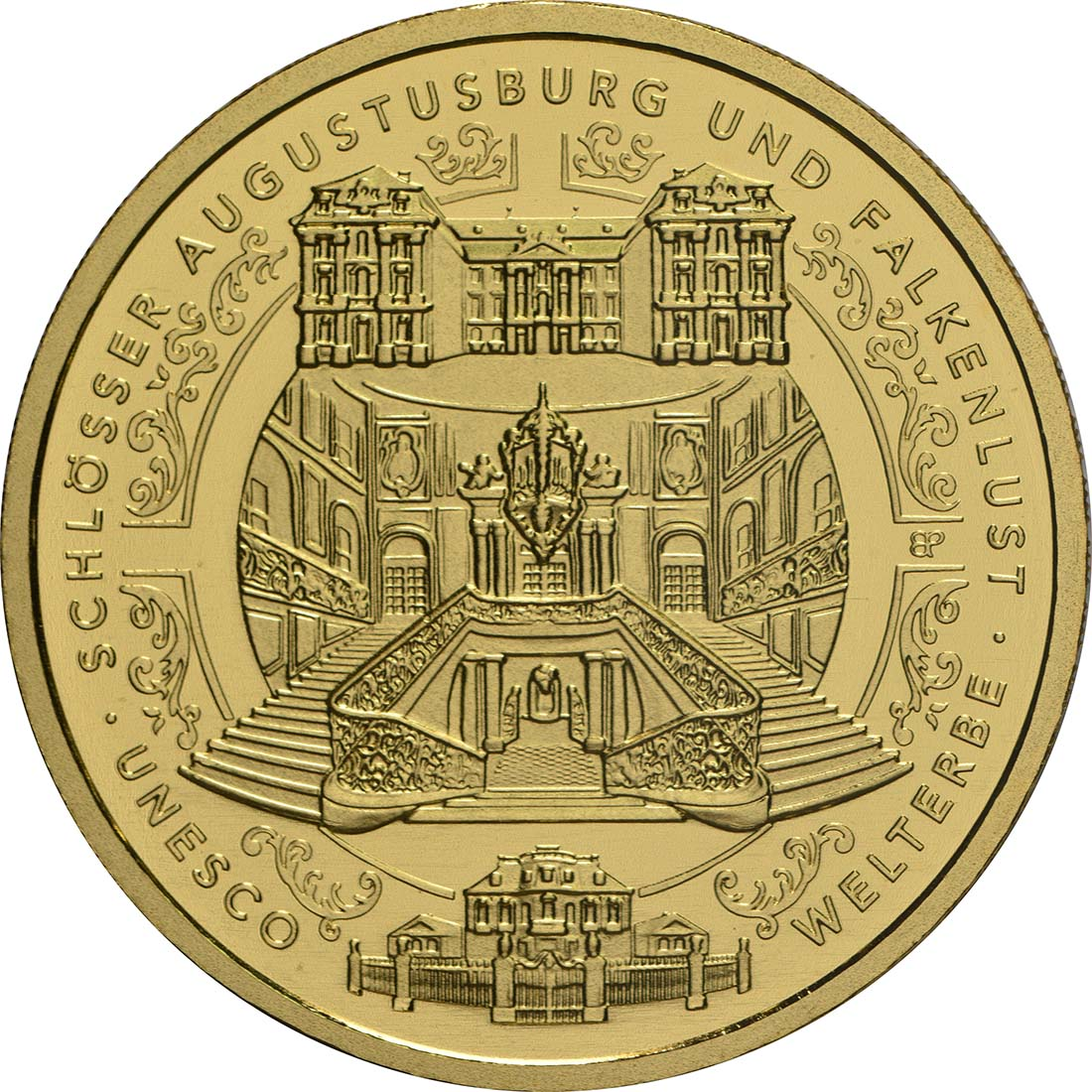 Vorderseite:Deutschland : 100 Euro Schlösser Augustusburg und Falkenlust in Brühl Buchstabe unserer Wahl  2018 Stgl.