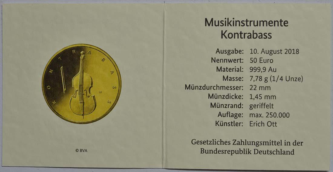 Zertifikat:Deutschland : 50 Euro Kontrabass Buchstabe unserer Wahl  2018 Stgl.